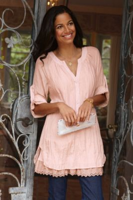 Half Moon Bay Top - Lace, Belled Sleeves, Scalloped Edges, V Neckline | Soft Surroundings