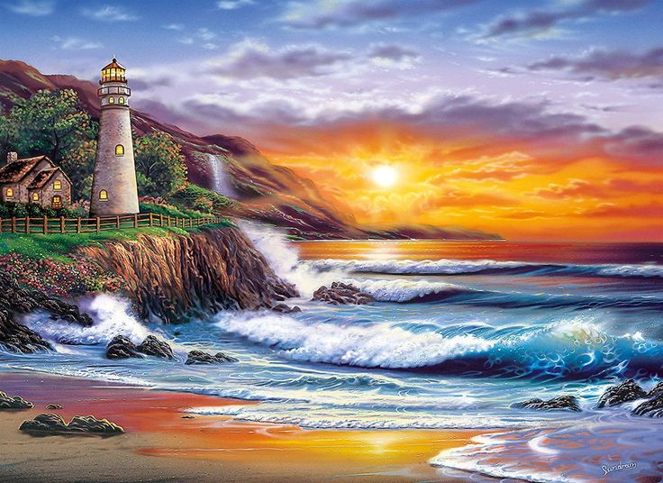 Clementoni Puzzle 1000 Teile Sundram: Leuchtturm bei Sonnenuntergang (39368) in Spielzeug, Puzzles & Geduldspiele, Puzzles | eBay! | http://nextpuzzle.de/detailview/puzzle-leuchtturm-bei-sonnenuntergang/225