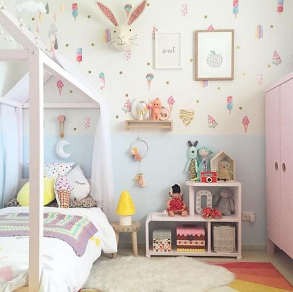 Set of 16 life sized ice-creams for your wall. So cute and fun, for any nursery or child's space!  These bright, watercolour removable wall decals are easy to a