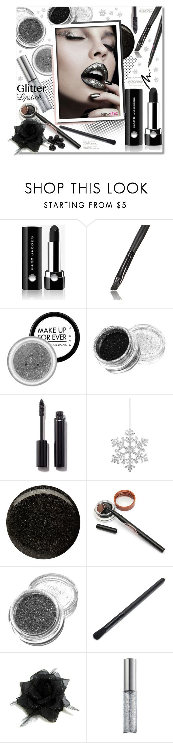 """So Sparkly: Glitter Lips (lovenewchic)"" by anitadz ❤ liked on Polyvore featuring beauty, Marc Jacobs, MAKE UP FOR EVER, Chanel, Shishi, Balmain, Urban Decay, Eyeko and glitterlips"