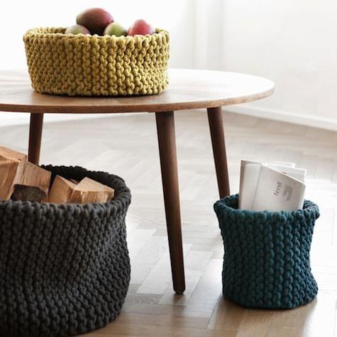 chunky knit baskets from Ferm Living: Crochet Baskets, Ferm Living, Crafts Ideas, Knits Crochet, Yarns, Knits Baskets, Things, Diy, Chunky Knits