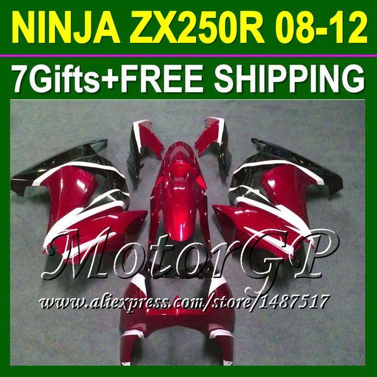 Купить товар7 подарки для тёмный красный Kawasaki ниндзя 250r 08 09 10 11 12 ZX250 ZX 250 16 # 164 2008 2009 красный черный 2010 ZX250R зализа в категории Щитки и художественная формовкана AliExpress.