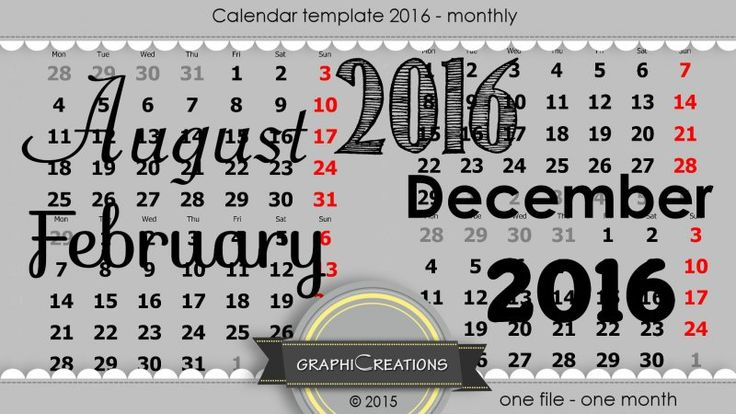 Calendar template 2016 - monthly by Graphic Creations
