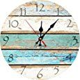 "Amazon.com: Grazing 12"" Vintage Arabic Numerals ,Shabby Beach, Weathered Beachy Boards Design ,Ocean Colors Old Paint Boards Printed Image, Rustic Mediterranean Style Wooden Decorative Round Wall Clock (Sky): Home & Kitchen"