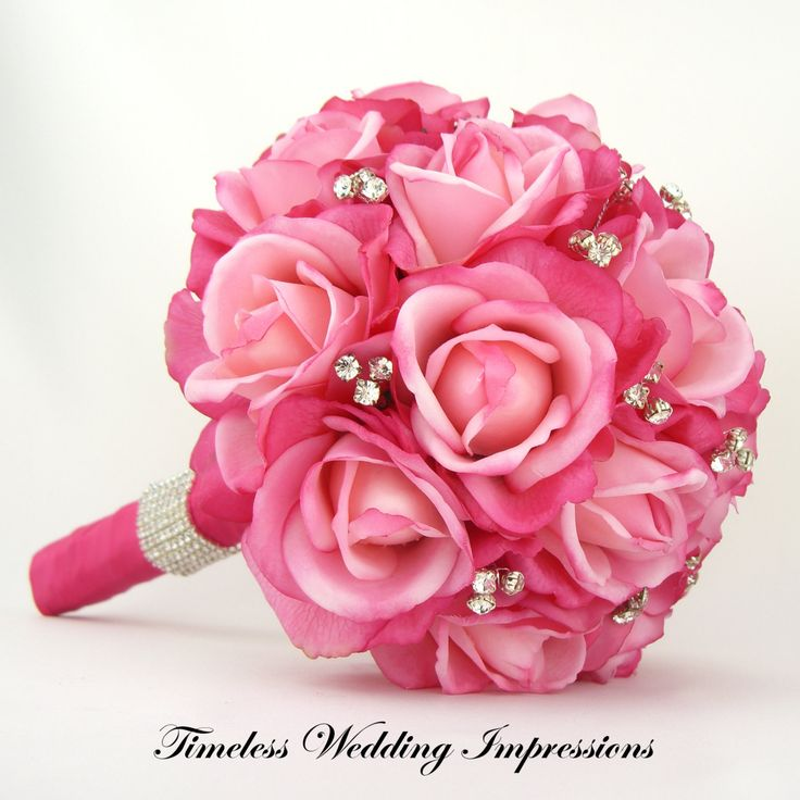 Hot Pink Bridal Bouquet Roses Bling Crystals Rhinestones Wedding Real Touch. $190.00, via Etsy.
