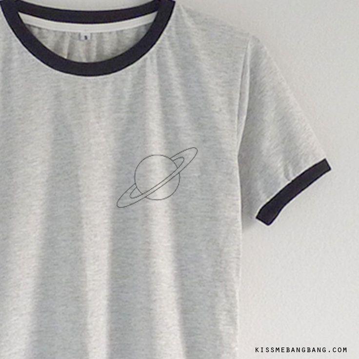 Saturn Ringer Tee $13.99 ; Saturn  Shirt ; Graphic ; #Tumblr ; #Hipster Teen Fashion KISSMEBANGBANG.COM