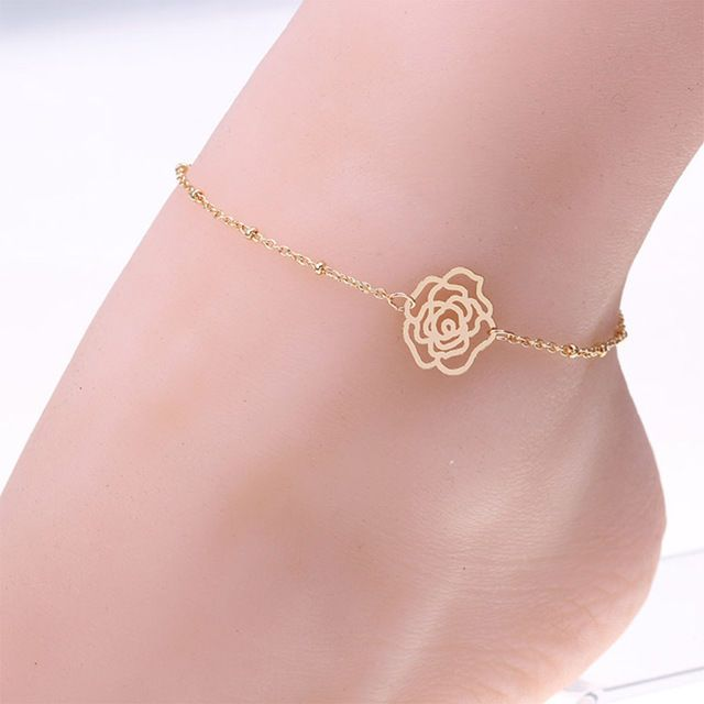 Women Gold Plated Rose Flower Anklet Chain Ankle Bracelet Anklets foot Jewelry #Feixingjewlry