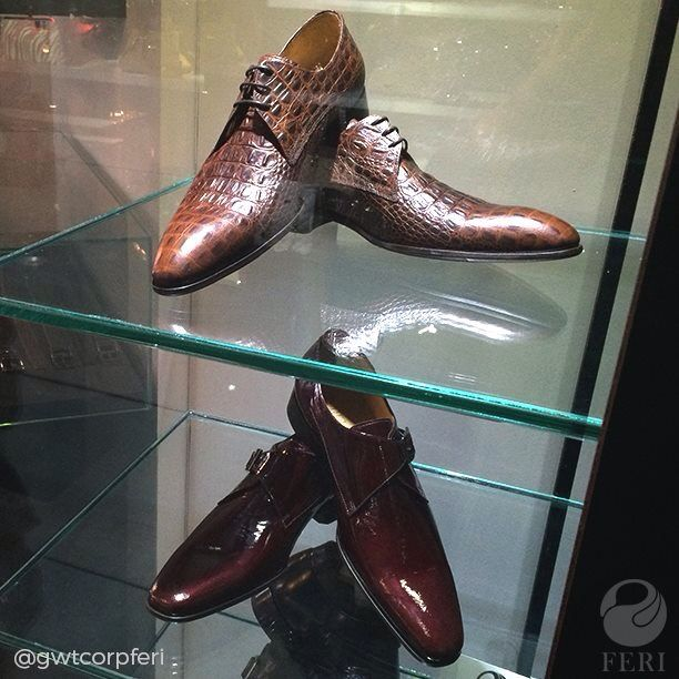 A look into our Head Office showroom cases at the NEW MEN'S SHOES!!! Rich crocodile skin textured genuine leather and the ever sophisticated patent leather finish. Come by and check out these babies in person! #FERI #FERIDesignerLines #FERIFashionHouse #gwtferi #paidtowear #mensfashion #guystyle #man #fashion #menswear #NEW #footwear #leather #patentleather #croc #crocidileskin #texture #fashion #shoes #luxury #designer