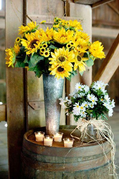 Sunflower daisy centerpieces diy country wedding