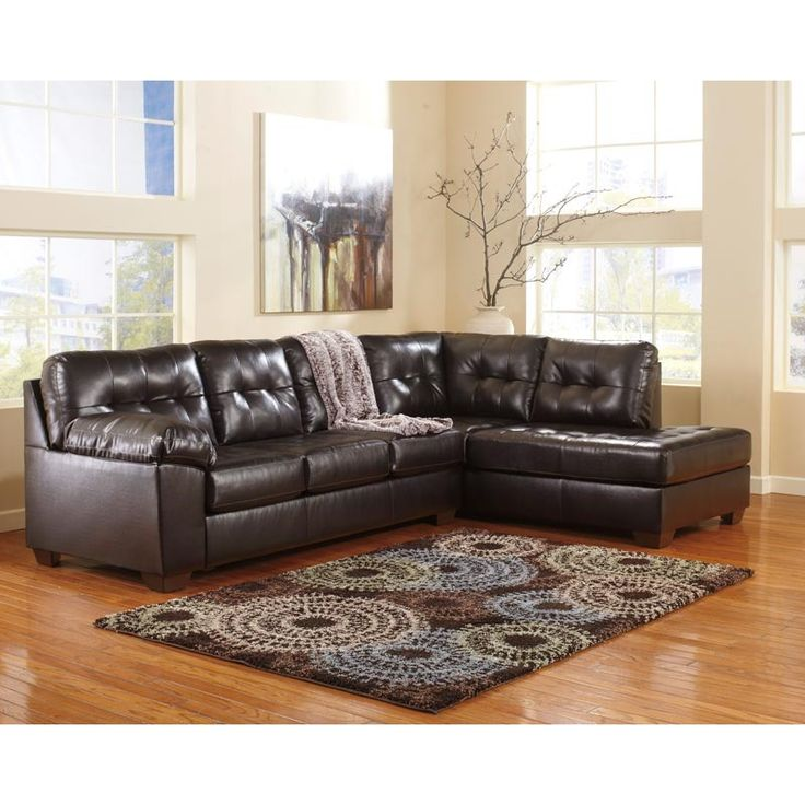 Ashley Alliston Chocolate Brown Sectional Leather Love