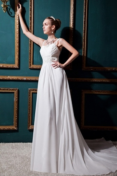 White A-Line Spaghetti Strap Bridal Gowns ted0156 - SILHOUETTE: A-Line; FABRIC: Chiffon; EMBELLISHMENTS: Beading , Ruched , Sequin; LENGTH: Court Train - Price: 140.2500 - Link: http://www.theeveningdresses.com/white-a-line-spaghetti-strap-bridal-gowns-ted0156.html