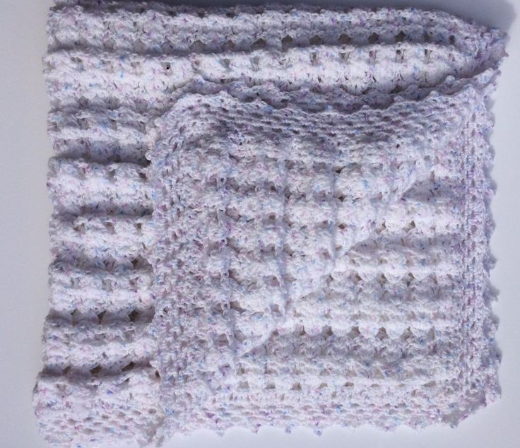 White with Lilac, Pink, Blue Speckle Vintage Style Cot Blanket for Baby