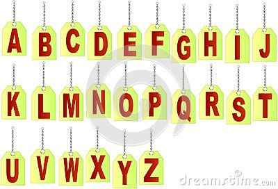 Hanging on a chain letter. Red Vector Alphabet.