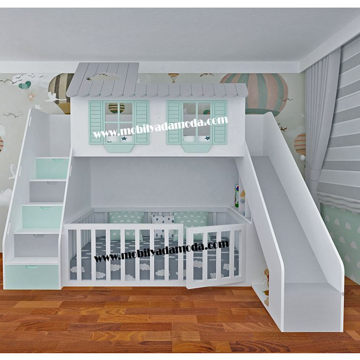 Lit superposé Slide House avec lit Montessori non fini - #babybedroomsideas #b ...