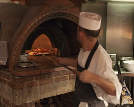 We serve superb pizzas from our famous wood-fired oven at The Red Lion, Waterend