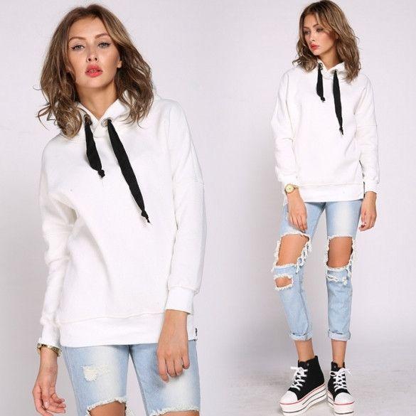 New Fashion Womens Girl Long-sleeve Hoodie Tops Sweatshirt Pullover