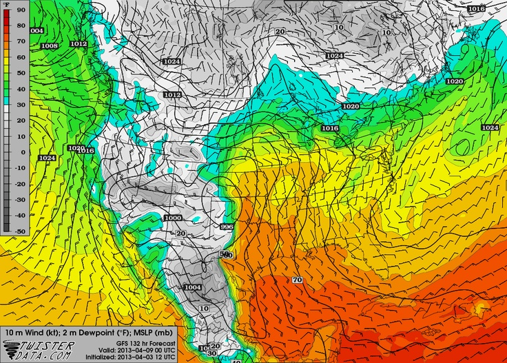 The GFS and Euro models are starting to come into better agreement for a regional severe weather OUTBREAK...which would likely include STRONG tornadoes for Monday, April 8th. This map depicts dewpoints and a deep surface low for Monday at 7 p.m.    Southern Kansas, much of Central/West Central Oklahoma, and NW TX would be the highest likely of areas to receive this weather.    Severe weather will also be likely on Tuesday, April 9th. Stay tuned!    wwww.updates.tvnweather.com