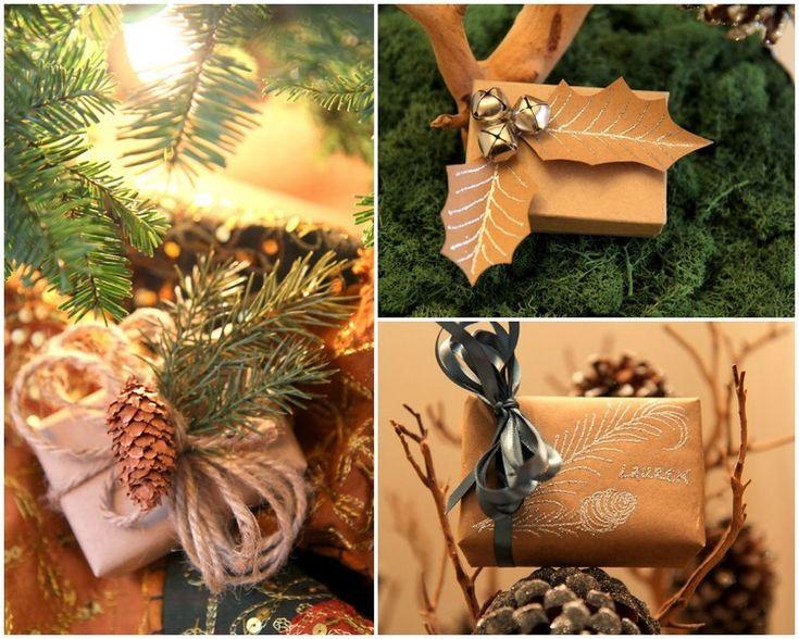 Geschenke mit schön dekoriertem Kraftpapier verpacken