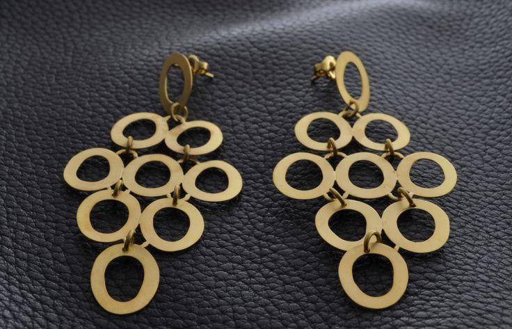 Gold Dangling Rhombus Earrings Handmade by ViazisJewelry on Etsy