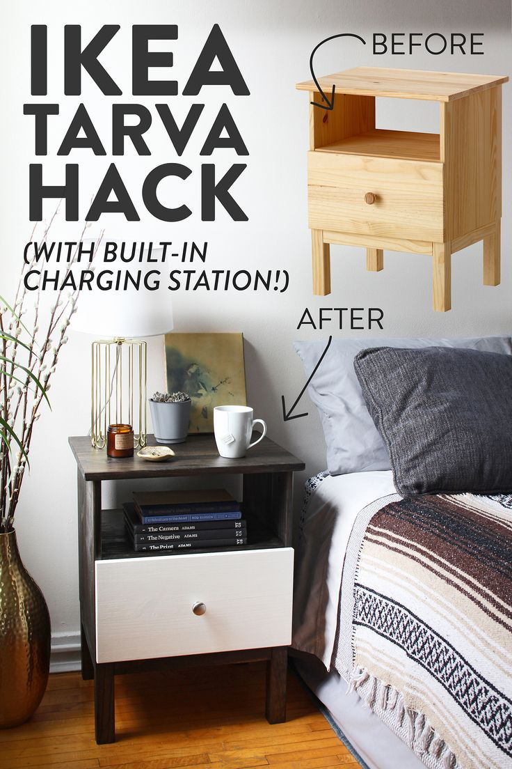 IKEA Hack With a Built-In Charging Station! Transform the Tarva nightstand with wood stain and paint for a fresh new look.