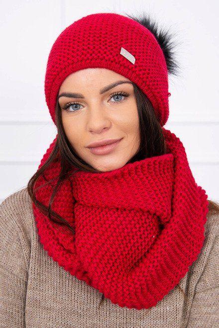 2295bc381 Dámska pletená čiapka a šál červená | Dámske čiapky a šály | Červená ...