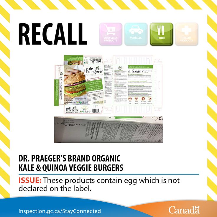 ❗ Dr. Praeger's brand Organic Kale & Quinoa Veggie Burgers recalled. To find out more about this recall: http://www.inspection.gc.ca/about-the-cfia/newsroom/food-recall-warnings/complete-listing/2016-11-11/eng/1478911657006/1478911657370