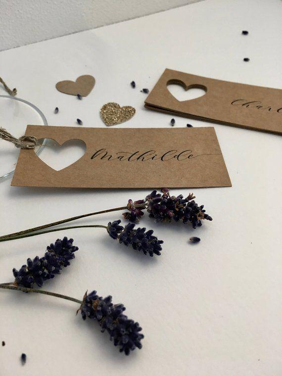 Marque-place personnalisé, étiquette avec prénom, invité mariage, décoratio…