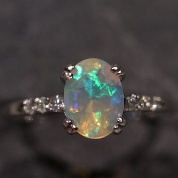 Natural Ethiopian Opal 14k White Gold Ring w/ Diamond - Size 6.5 - Handmade Gemstone Fine Jewelry #1264