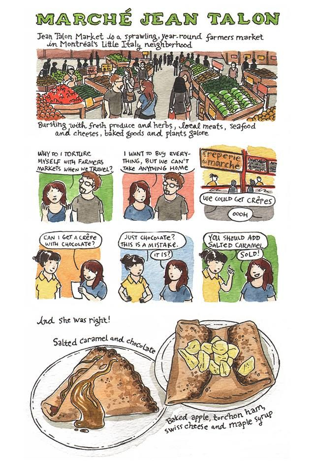 Eating well in Montreal: Montreal is a city awash in good eats, from salted caramel and chocolate crêpes to smoked meat and fresh oysters. Check out this amazing illustrated guide, courtesy of our favorite Chicago-based comic artist, Sarah Becan.