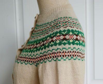 Vintage 1950's Beige Knit Norwegian Cardigan Sweater Size s M | eBay