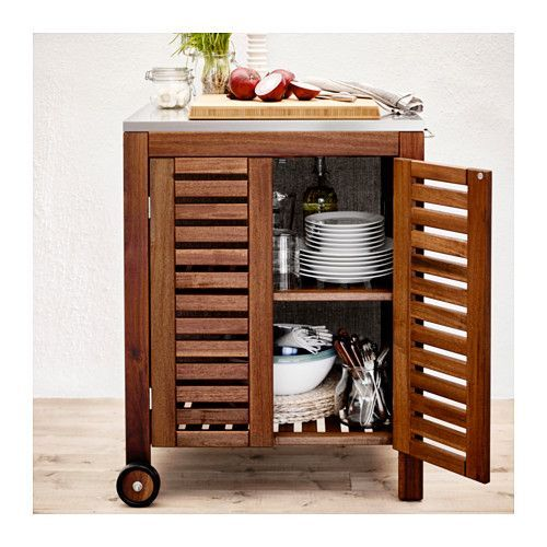 Ikea Applaro Klasen Brown Stained Storage Cabinet Outdoor En 2020 Meuble Rangement