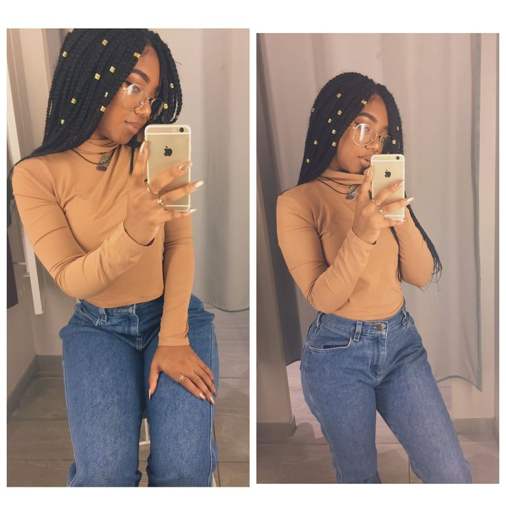 Nude brown long sleeve top medium wash blue old skinny jeans mom jeans necklace box braids with cuffs