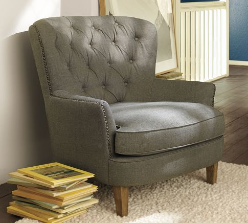 Cardiff Tufted Armchair | Pottery Barn- Perfect for my bedroom
