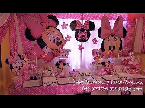 Como Hacer Decoracion De Fiesta Infantil De Minnie Bebe Con Presentación De Mesa Temática Youtu Tema De Minnie Mouse Decoración De Fiestas Infantiles Minnie