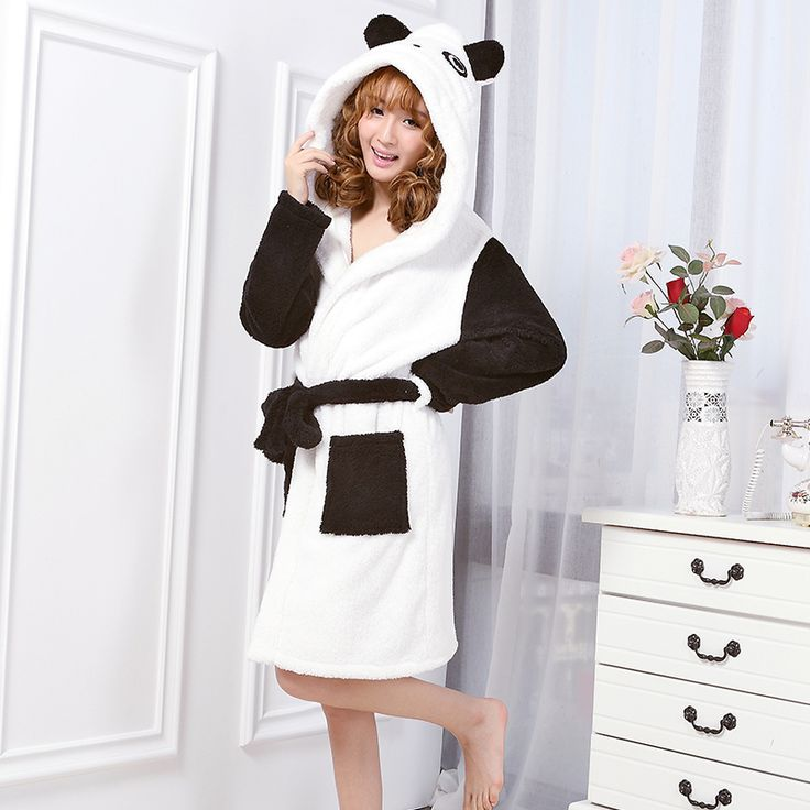 New Sexy Spring Autumn Women robe  bathrobe Hooded Nightgowns one piece sleepwear thickening Velvet Traje de mujer  #Affiliate