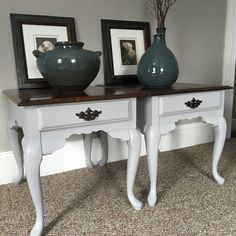Set of 2 completely refinished vintage Queen Anne end tables. Paint...