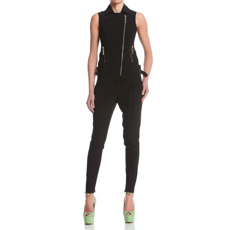One piece sleeveless suit with front zipper andcarrot shaped pants. http://shop.mangano.com/en/suits/16484-tuta-thelma-smanicata-nera.html  #suit #apparel #clothing #woman #black #mangano