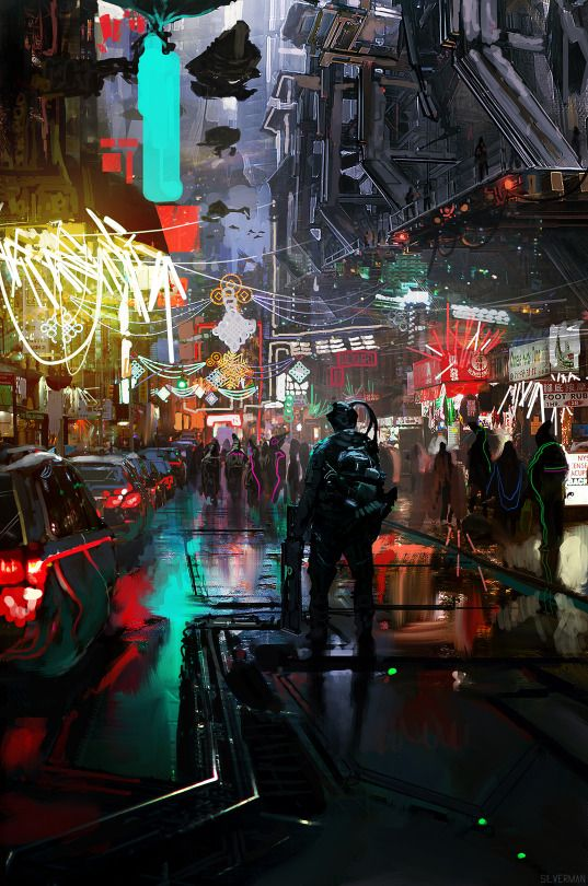 fuck yeah cyberpunk / sci fi city / industrial / urban / colorful / futuristic / video game / digital backgrounds