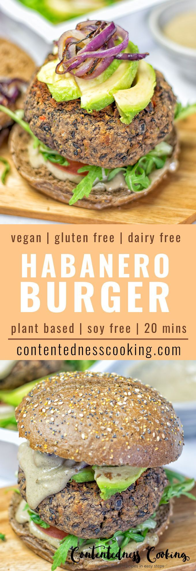Make this Vegan Mexican Cheese Black Bean Burger infused with amazing Habanero for fiery spiciness. 5-ingredients, a must-make. Soy free, gluten free, dairy free, plant based, and ready in only 20 minutes.
