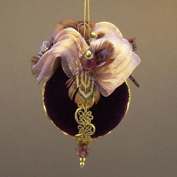 """""""Flights of Fancy"""" by Towers and Turrets - Plum Purple Velvet Ball Christmas Ornament with Feathers - Victorian Inspired, Handmade by Towers and Turrets Ornaments"""