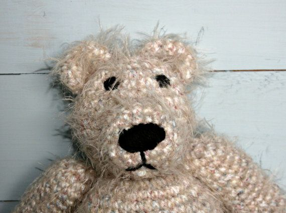 This is Bradley, a handmade crochet #teddy #bear. He is very soft and a bit fluffy. He is quite athletic, but is also very laid back. Brad (that's what he likes to be called) is probably a surfer, but I don't know, he just looks like that. He likes to be funny by crochetyknitsnbits on Etsy
