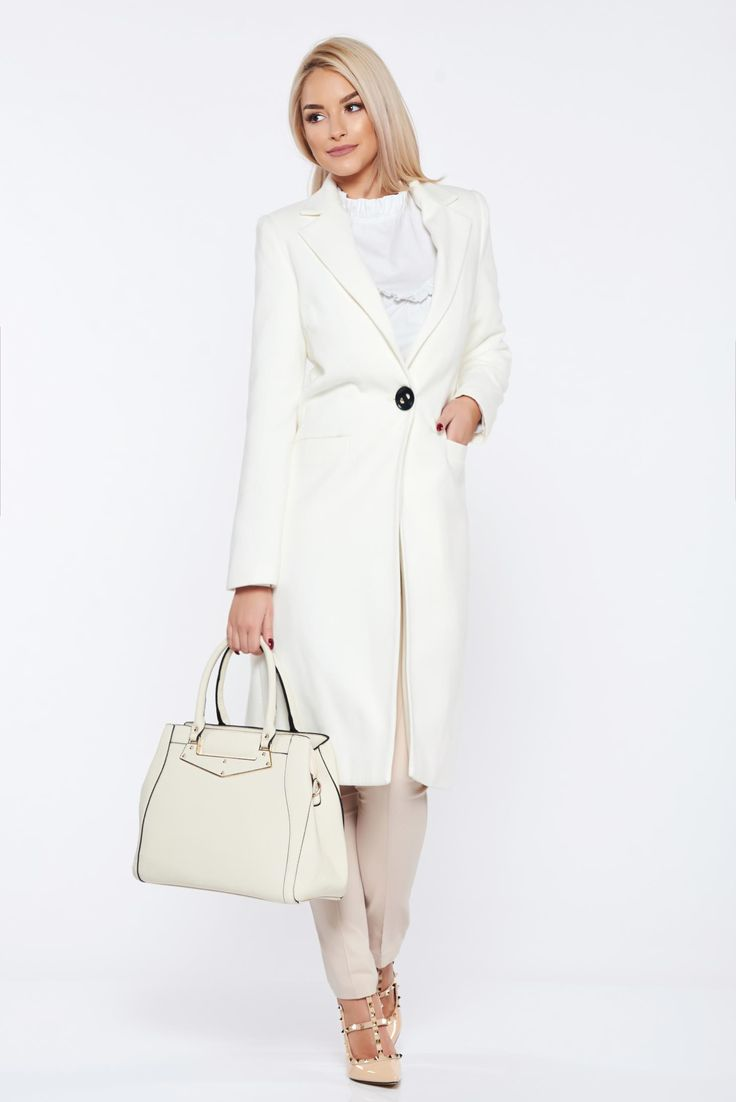 Casual straight LaDonna white coat with pockets, with pockets, inside lining, women`s coat, non elastic fabric