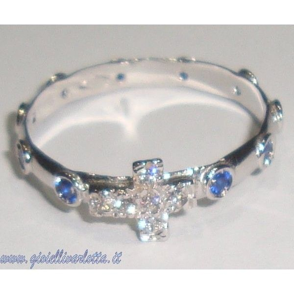 Rosario Anello in Oro Bianco e Zirconi Blu http://www.gioiellivarlotta.it/product.php?id_product=1452