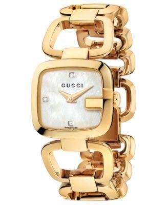 Gucci Watch, Women's Swiss G-Gucci Diamond Accent Yellow Gold PVD Stainless Steel Bracelet 24x22mm YA125513 | macys.com