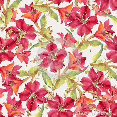 Seamless pattern with watercolor flowers. Vector illustration.