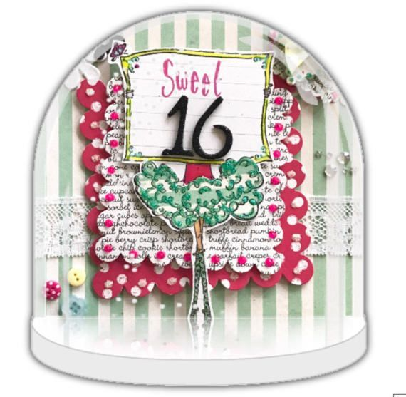 Sweet 16 gift, Snow globe, personalised snow globe, 16th birthday gift,  unique party favour, party invite, personalised gift, girl birthday