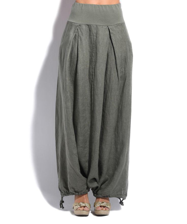 Khaki Linen Maxi Skirt