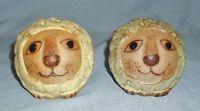 Vintage Clay Pottery Lion Salt & Pepper Shakers Japan