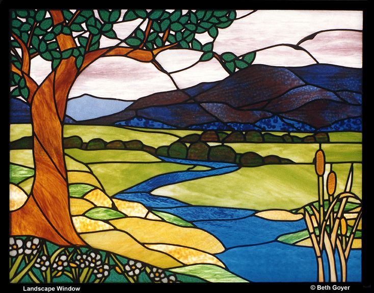 Creek river landscape stained glass pinterest for Easy glass painting designs