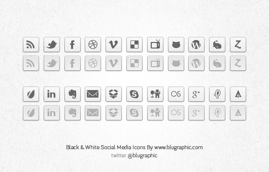 Black & White Social Network Buttons